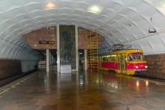 Volgograd Ryssland - November 01 2016 Lenin fyrkant - underjordisk snabb spårvagnstation Arkivbilder