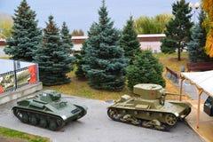 Volgograd Ryssland - November 01 2016 Utställning av militär utrustning från tider av det andra världskriget nära museum av strid Arkivbilder