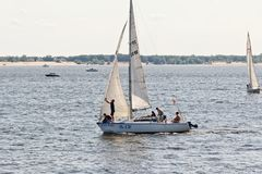 Competition sailing on the Volga dedicated to the celebration of Royalty Free Stock Image