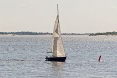 Competition sailing on the Volga dedicated to the celebration of Royalty Free Stock Photography