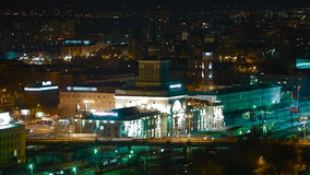 Volgograd Train station timelapse. Volgograd train station at night timelapse stock video