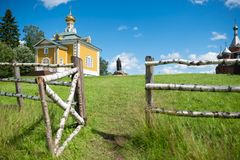 Open wicket to the temple. Volgoverkhovye Olginsky convent. The Nikolsky Temple. Tver Region. Source Volga river Stock Image
