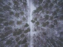 Voli con il fuco sopra i racconti dell'inverno con neve fotografie stock