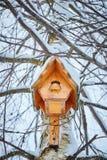 Voljär för fåglar som hänger på björk i vinter, trähus för fåglar, vintertid arkivbild
