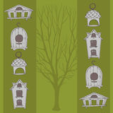 Voljärer och träd Stock Illustrationer