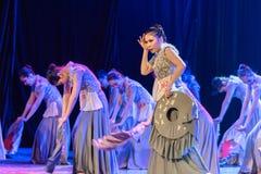 Volk-Tanz-Staffelungs-Show der hakka-Frauen-3-Chinese des Tanzes Departmen lizenzfreies stockbild