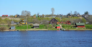 Volkhov river panorama with houses at the shore Royalty Free Stock Photo