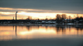 The Volkhov River during Sunset Stock Photo