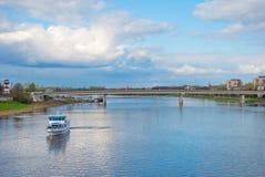 Volkhov River in Velikiy Novgorod Stock Images