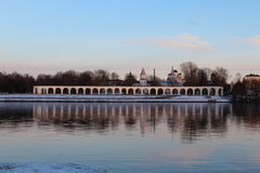 Volkhov River. Yaroslav`s Court. Velikiy Novgorod royalty free stock photo