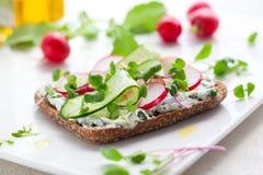 Volkoren sandwiches met groenten Stock Foto's