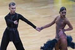 Volkov Iliya y Stasyuk Ekaterina Performs Adult Latin-American Program fotografía de archivo