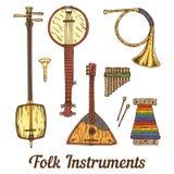Volks muzikale instrumenten vector illustratie