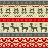 Volksart Weihnachtsnahtloses Muster Lizenzfreies Stockfoto