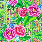 Volksblumen mit aztekischem Hintergrund Lizenzfreie Stockfotografie