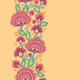 Volksblumen-vertikaler nahtloser Muster-Hintergrund Stockbild