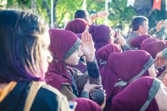 Volksdansers op Nationale Soevereiniteit en Kinderen` s Dag - Turkije Stock Foto