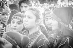 Volksdansers op Nationale Soevereiniteit en Kinderen` s Dag - Turkije Royalty-vrije Stock Afbeelding