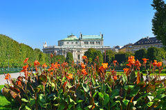 Volksgarten and Burgtheater in Inner Stadt Vienna, Austria Stock Image