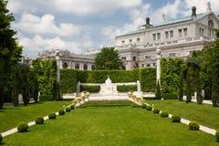 Volksgarten or People Garden with Empress Elizabeth Monument, Vi. Volksgarten or People Garden with Empress Elizabeth Monument of Hofburg Palace, Vienna in Stock Images