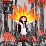 Volksgeschichtenfeuer mage Mädchen in der roten Waldillustration stockfotos