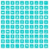 100 Volksikonen stellten Schmutz blau ein Stockfoto