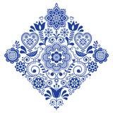 Volkskunst retro vierkant vectorpatroon met vogels en bloemen, Skandinavisch marineblauw symmetrisch ontwerp Royalty-vrije Stock Foto