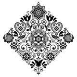 Volkskunst retro vierkant vectorpatroon met vogels en bloemen, Skandinavisch zwart-wit symmetrisch ontwerp royalty-vrije illustratie