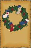 Volkskunst-Weihnachtskarte Lizenzfreie Stockfotos