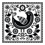 Volkskunst zwart patroon met vogel en bloemen Stock Foto