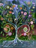 Volkskunstboom van het leven in de nacht royalty-vrije illustratie