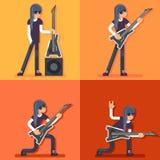 Volksmusik-Hintergrund-Konzeptbühnenbild E-Gitarren-Ikonen-Gitarrist-Hard Rock Heavys Stockfoto