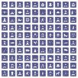 100 volkspictogrammen geplaatst grunge saffier Royalty-vrije Stock Foto's