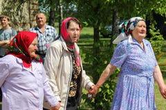 Volksrituale erbringen Verbesserungen in der Gomel-Region des Republik Belarus im Jahre 2015 Lizenzfreie Stockfotos
