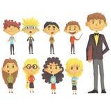 Volksschule-Gruppe Schulkinder mit ihrem männlichen Lehrer In Suit Set von Zeichentrickfilm-Figuren Lizenzfreies Stockbild