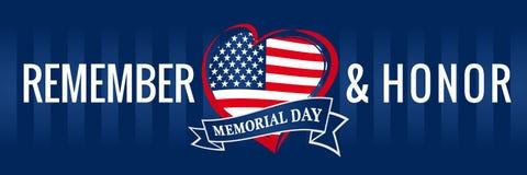 Volkstrauertag, erinnern sich u. ehren mit USA-Flagge im Herzfahnenblau Stockfoto