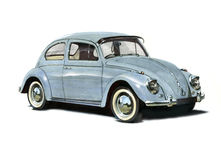 Volkswagen Beetle 1950s vector illustration