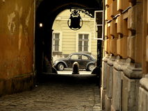 Volkswagen beetle. Old school Volkswagen beetle in Budapest Royalty Free Stock Images