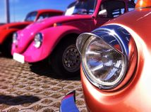 VolksWagen Beetle Blink. Beautiful classic car photographed with iPhone 5s mobile phone in Hiiumaa Estonia royalty free stock image