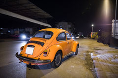 Volkswagen Beetle. Classic Volkswagen Beetle at night , Turkey Stock Image