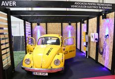 Volkswagen Beetle 1968 conversion at SIAB 2018, Romexpo, Romania. AVER togheter with Icpe converted a `68 VW Beetle into an electric car for which it have Royalty Free Stock Photos