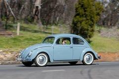 Volkswagen Beetle d'annata che guida sulla strada campestre immagini stock