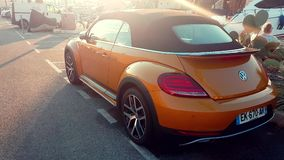 Volkswagen Beetle Dune Convertible Rear View stock footage