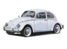 Volkswagen Beetle - grå färg Fotografering för Bildbyråer