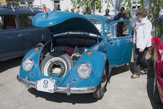 `Volkswagen beetle` with the open hood at the exhibition of vintage cars. Savonlinna, Finland Royalty Free Stock Images