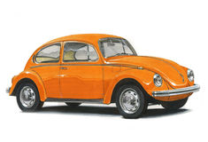 Volkswagen Beetle - Orange Royalty Free Stock Photography