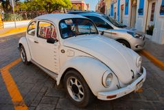 Volkswagen beetle to strike the car is parked royalty free stock photography