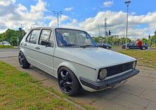 Volkswagen blanco viejo Imágenes de archivo libres de regalías