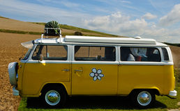 Volkswagen Bulli hippy. Version parked in countryside Stock Photos
