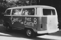 VOLKSWAGEN BUS, c. 1978/79  (All persons depicted are not longer living and no estate exists. Supplier warranties that there will  Royalty Free Stock Image